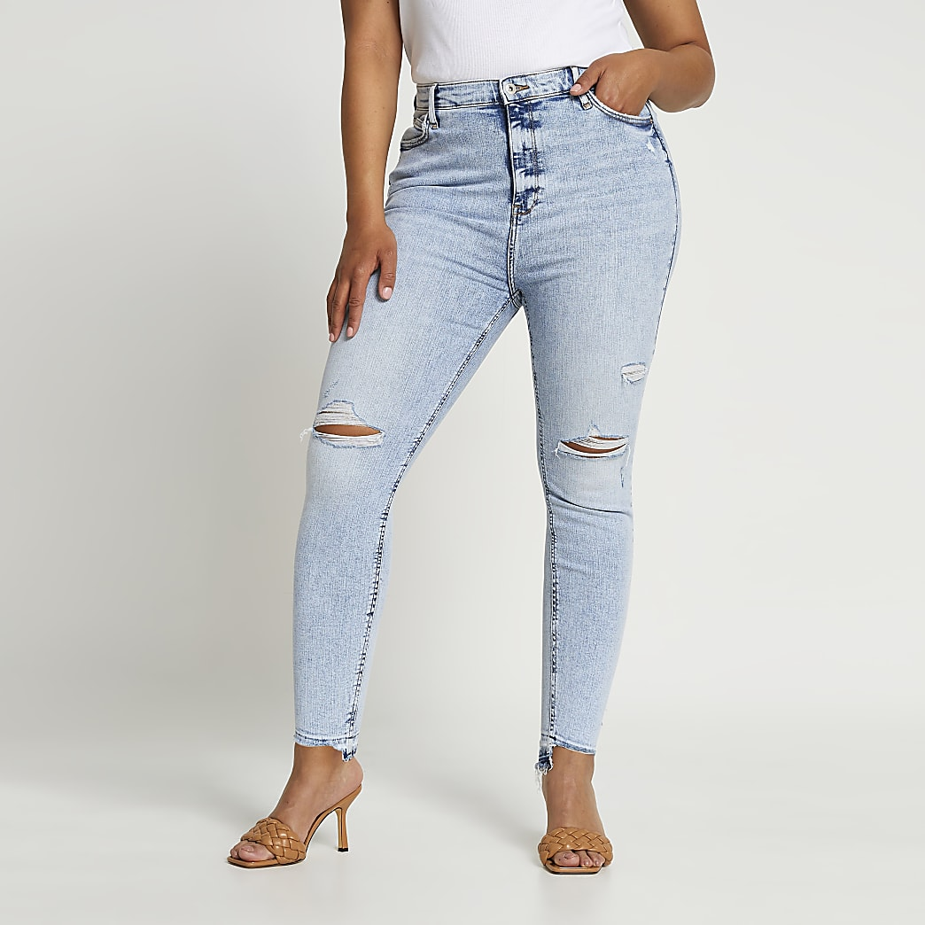 Plus blue high rise skinny ripped jeans