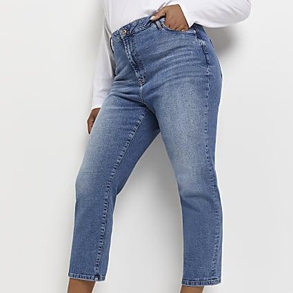 Plus blue high rise straight leg jeans