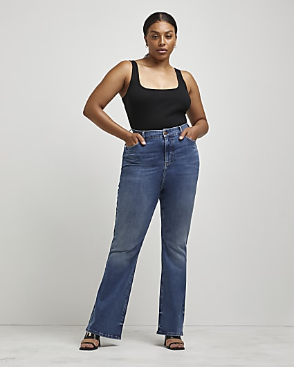 Plus blue high waisted flared jeans