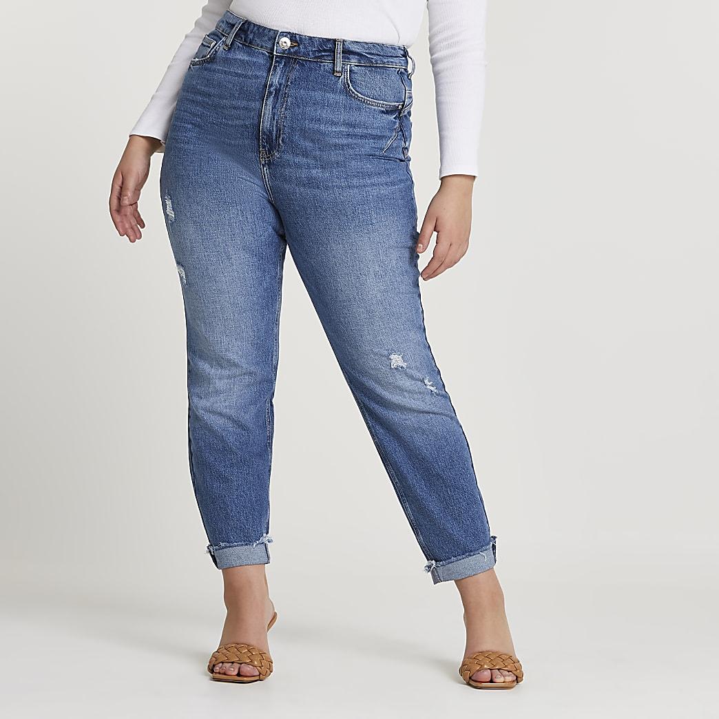 Plus blue high waisted mom bum sculpt jeans
