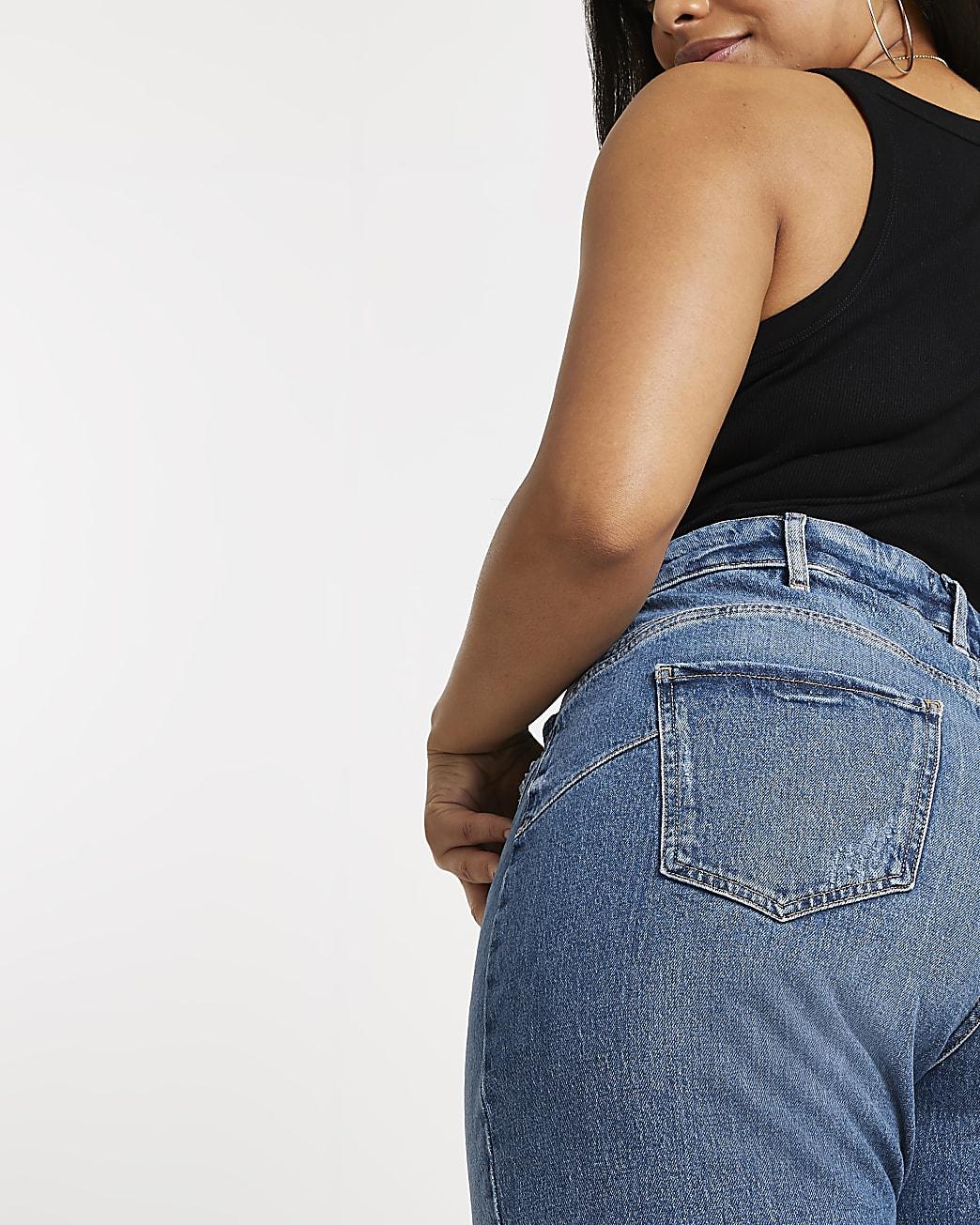 Plus blue high waisted mom stretch jeans