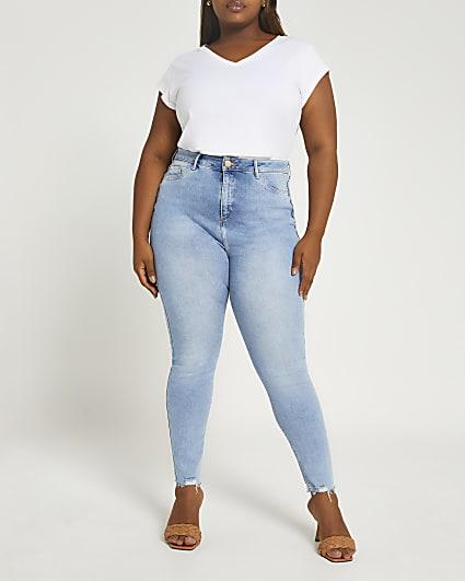Plus blue high waisted skinny jeans