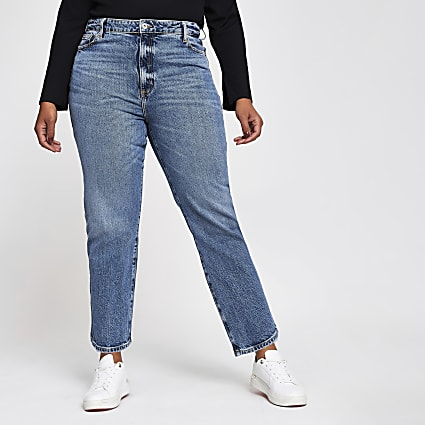 Plus Blue High Waisted Straight Jean