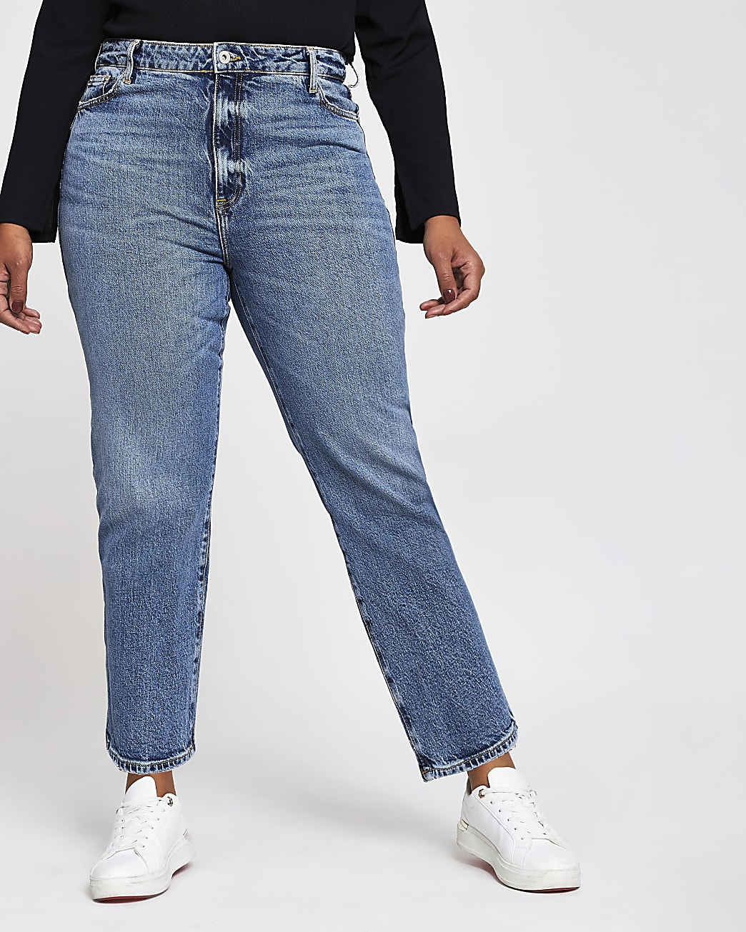 Plus Blue high waisted straight jeans