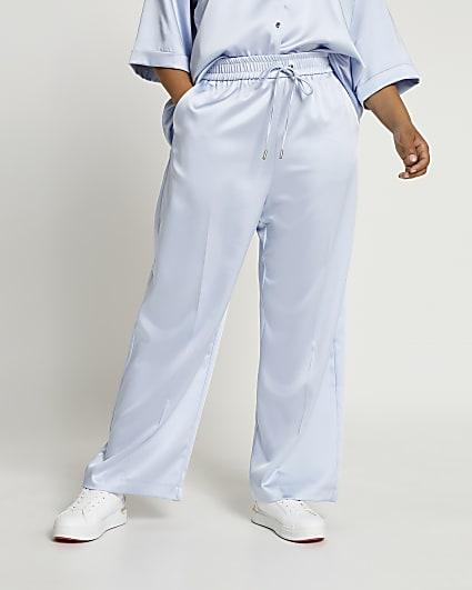 Plus blue jogger wide leg trousers