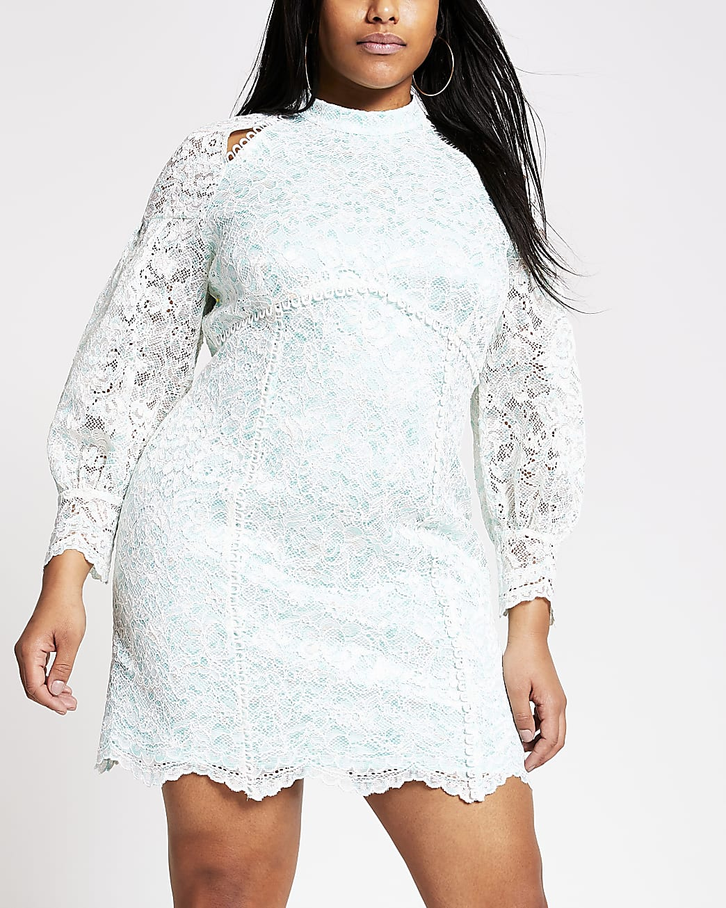 Plus blue lace backless cutout dress