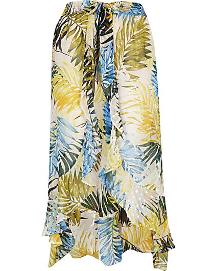 Plus blue leaf print maxi beach skirt