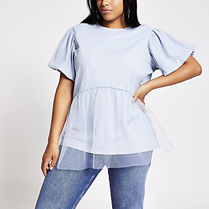 Plus blue mesh puff sleeve T-shirt