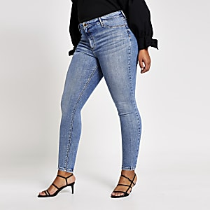 RI Plus - Blauwe Molly jegging met halfhoge taille