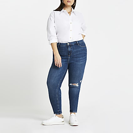 Plus Blue Molly Ripped Skinny Jean