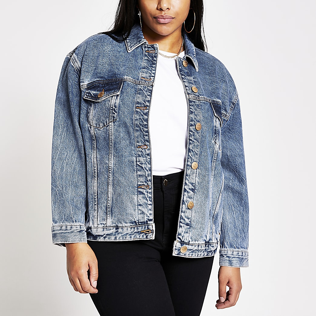 Plus blue oversized denim jacket