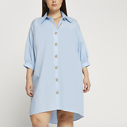 Plus blue oversized gold button shirt dress