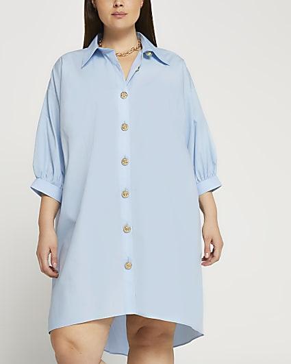 Plus blue oversized gold button shirt dress