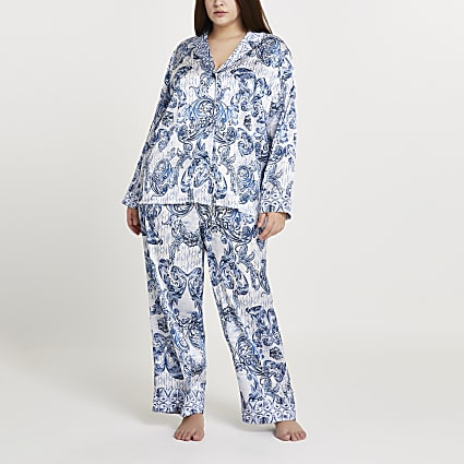 Plus blue paisley printed pyjama shirt