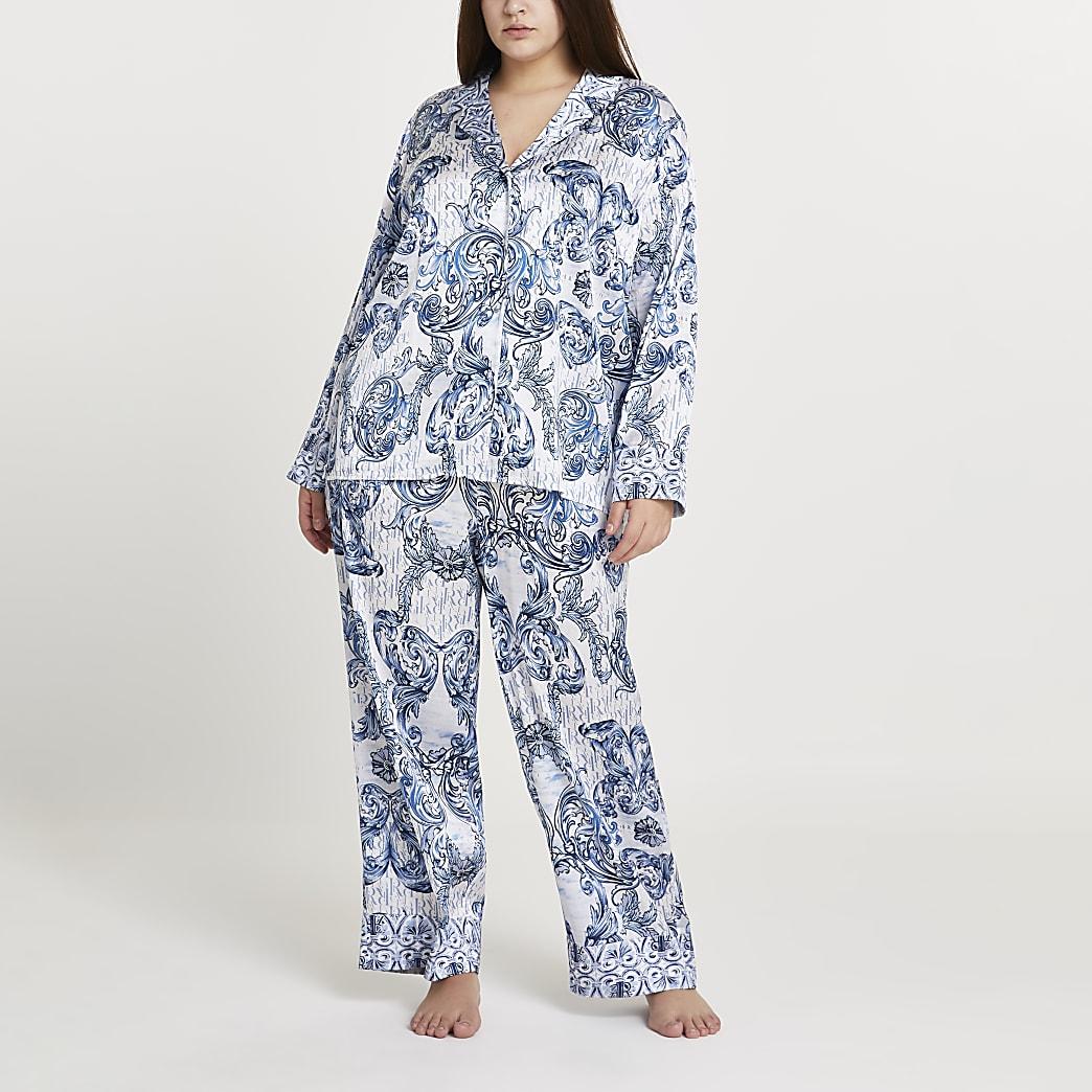 Plus blue paisley printed pyjama shirt