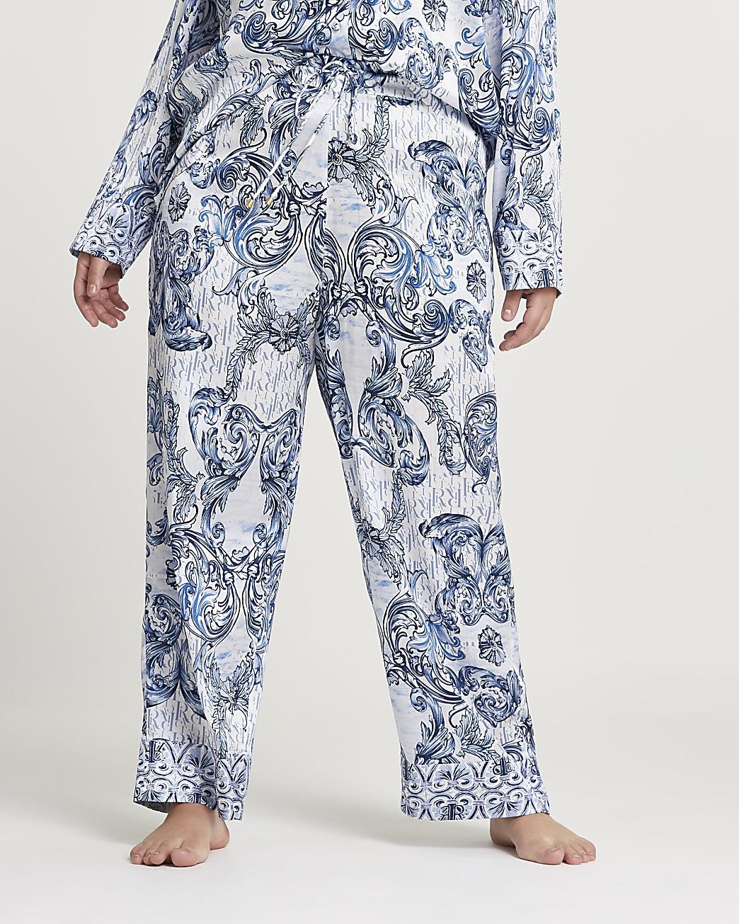 Plus blue paisley printed pyjama trousers