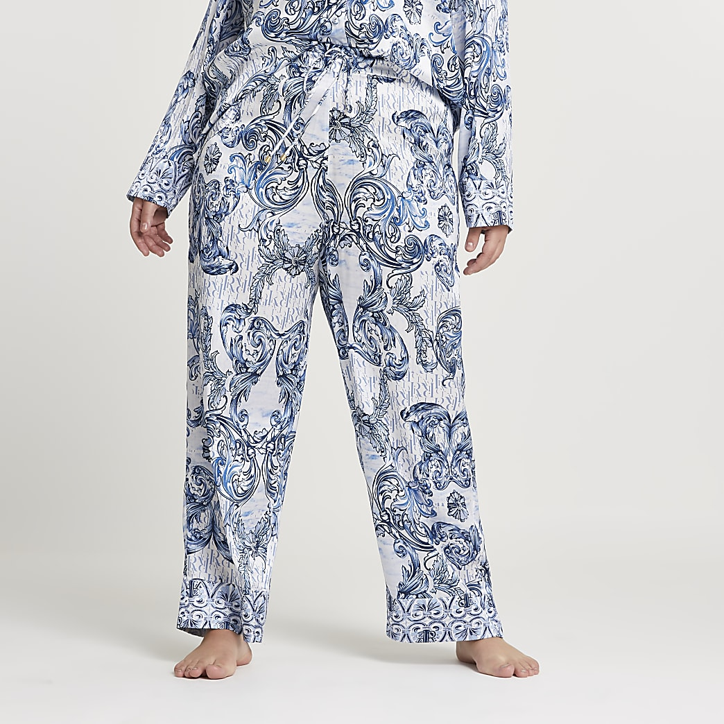Plus blue paisley printed pyjama trousers