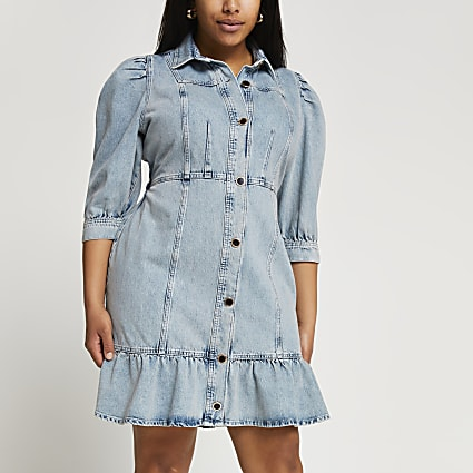 Plus blue peplum hem denim shirt dress