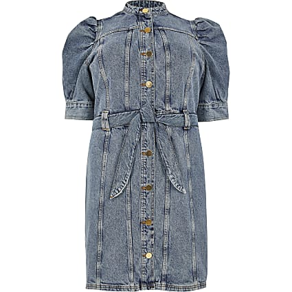 Plus blue puff sleeve mini denim dress