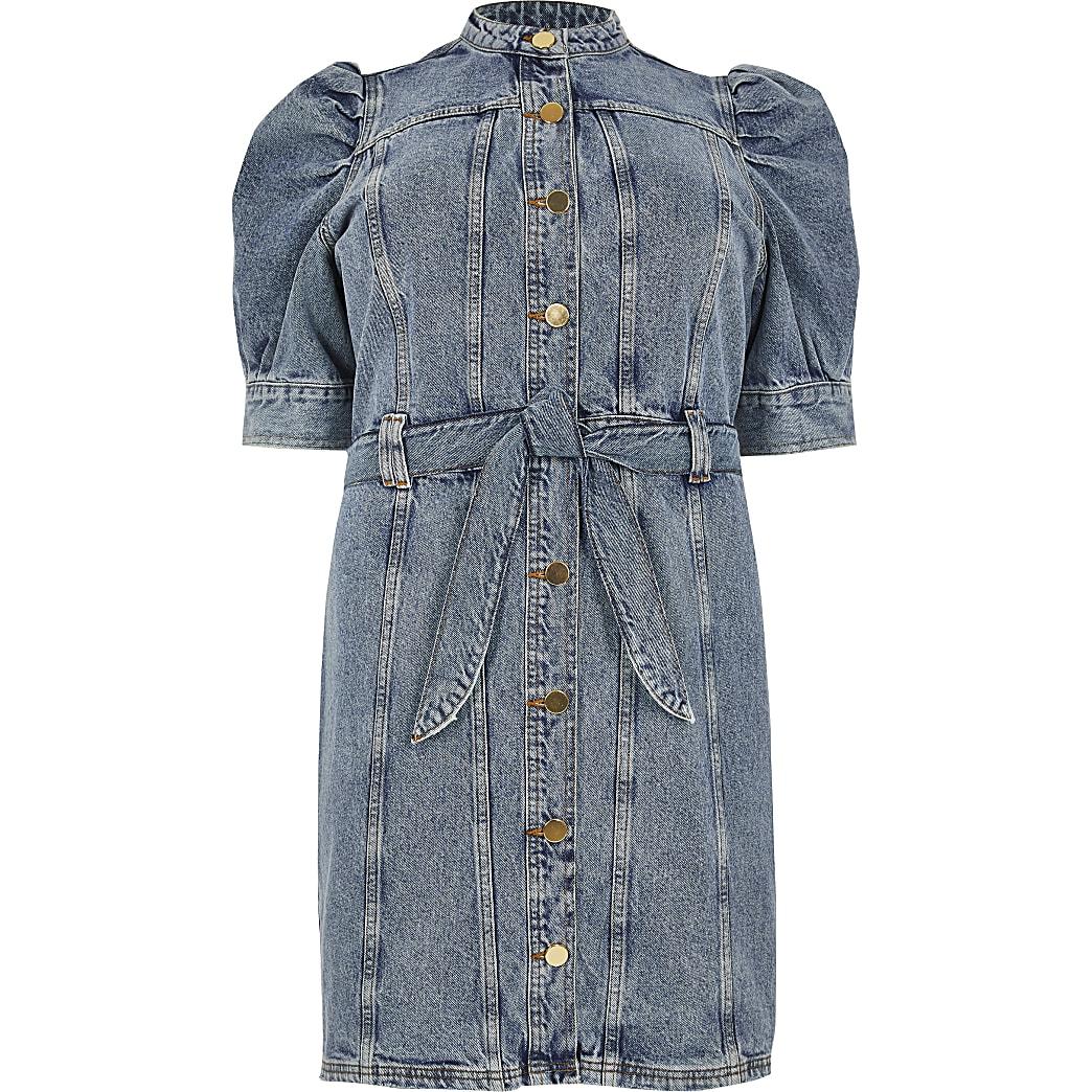 Plus blue puff sleeve mini denim dress