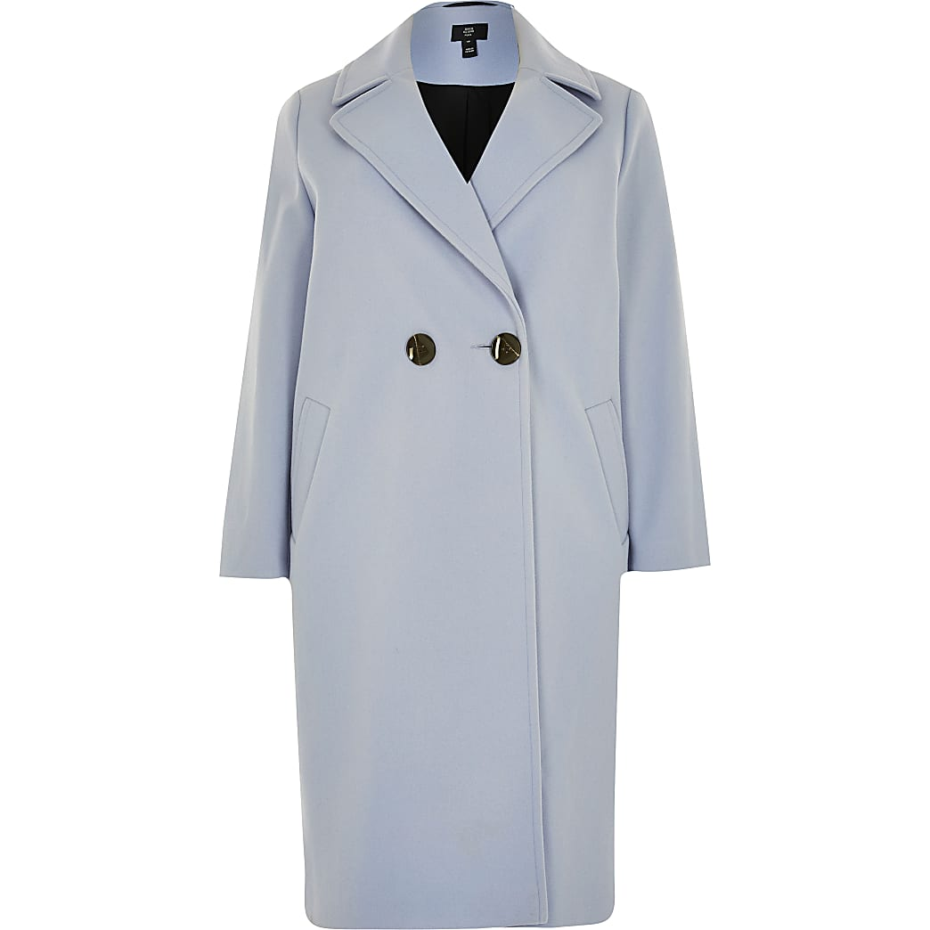 Plus blue relaxed double breasted coat