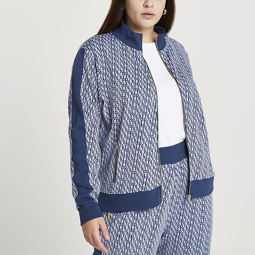 Plus blue RI monogram zip through jacket