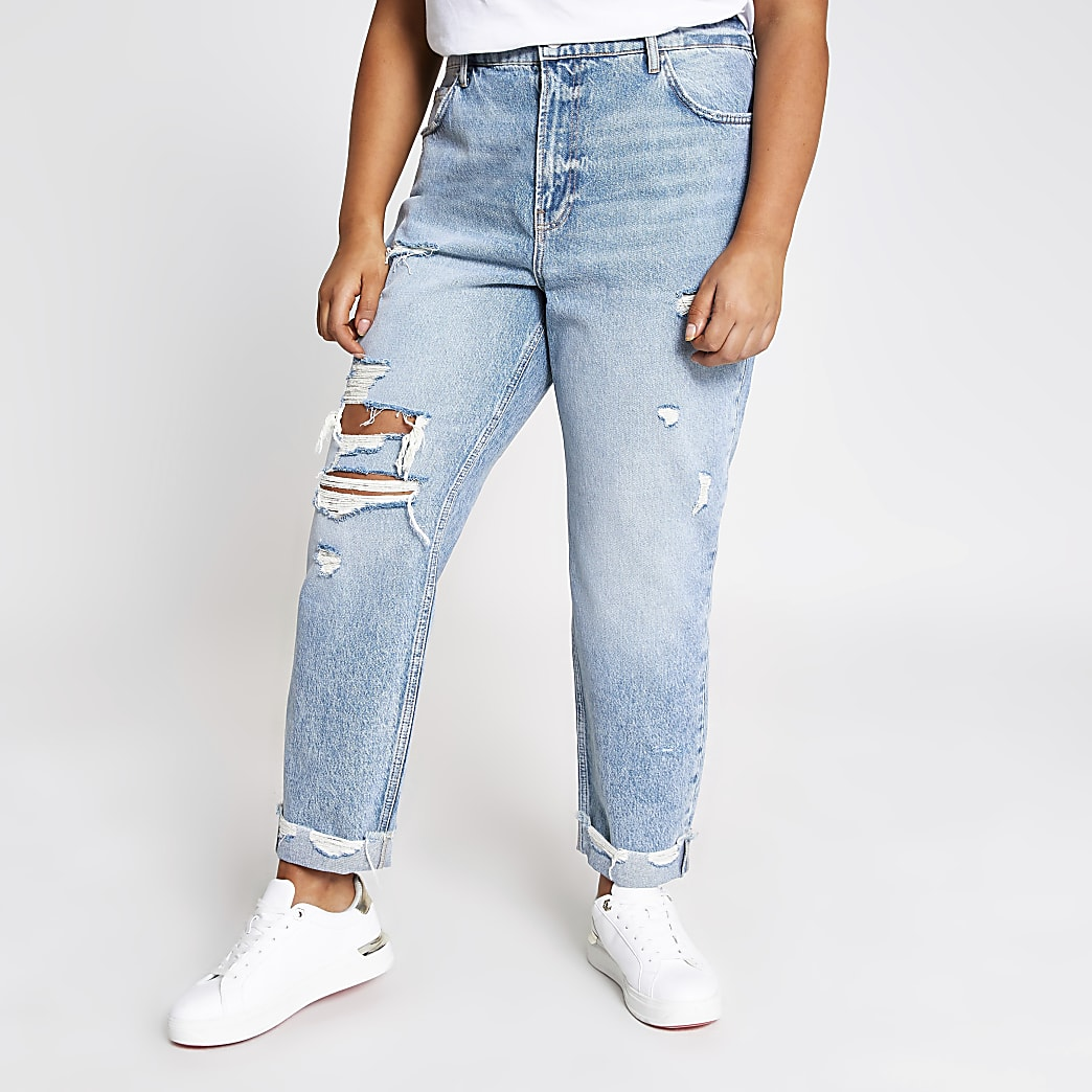 Plus blue ripped high rise Mom jeans