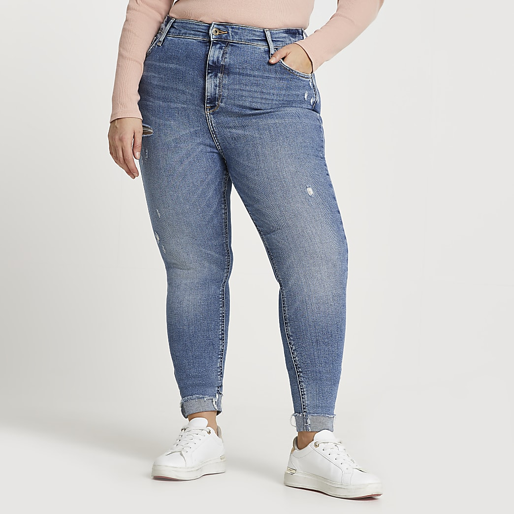 Plus blue ripped high waisted skinny jeans