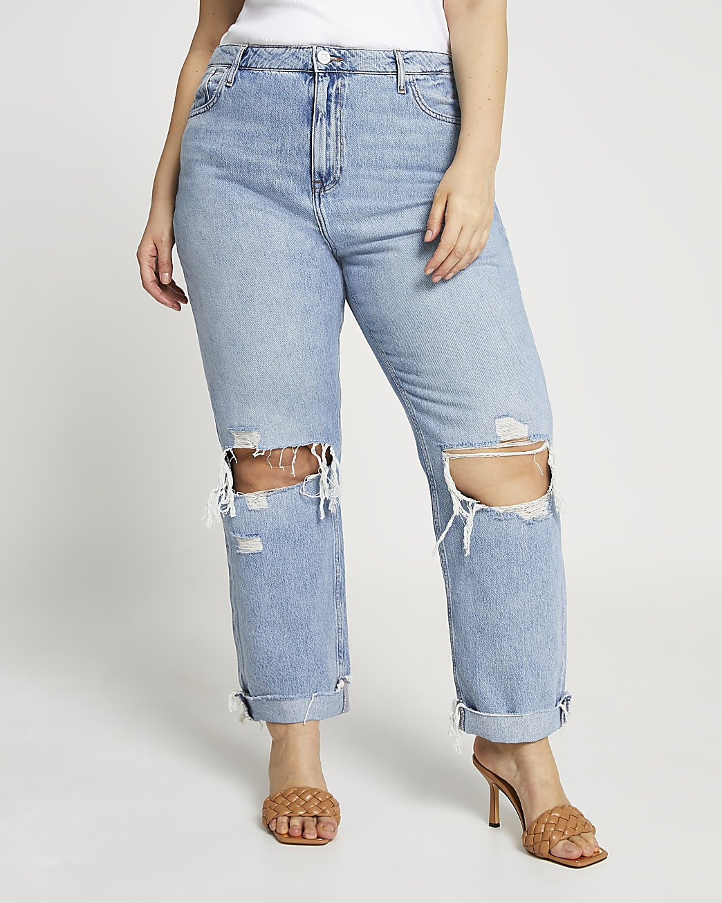 Plus blue ripped mid rise boyfriend jeans