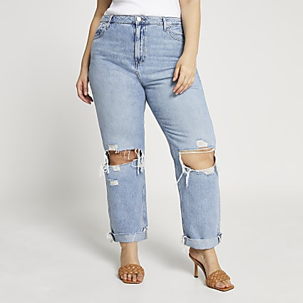Plus blue ripped mid rise boyfriend jeans