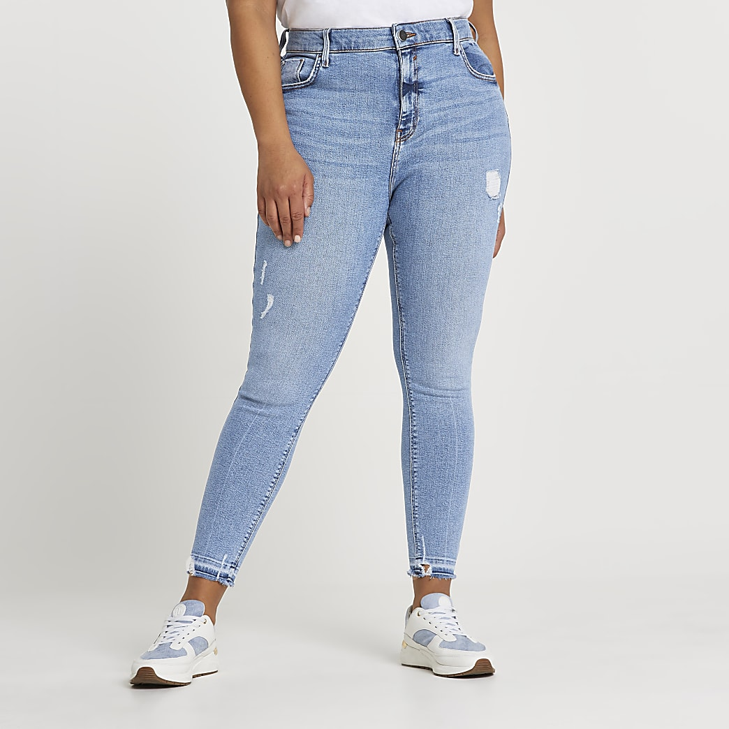Plus Blue Ripped Mid Rise Skinny Jean