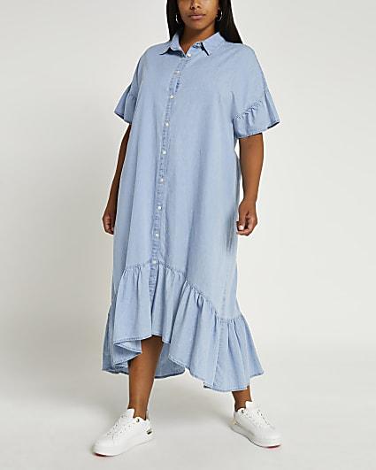 Plus blue ruffled midi dress