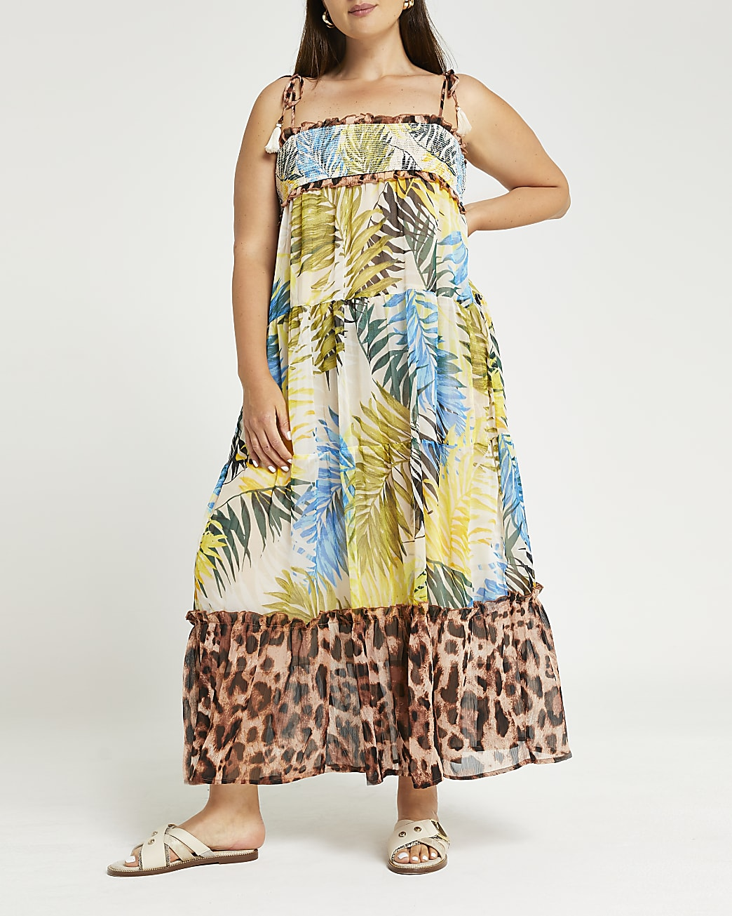 Plus blue shirred tiered maxi beach dress