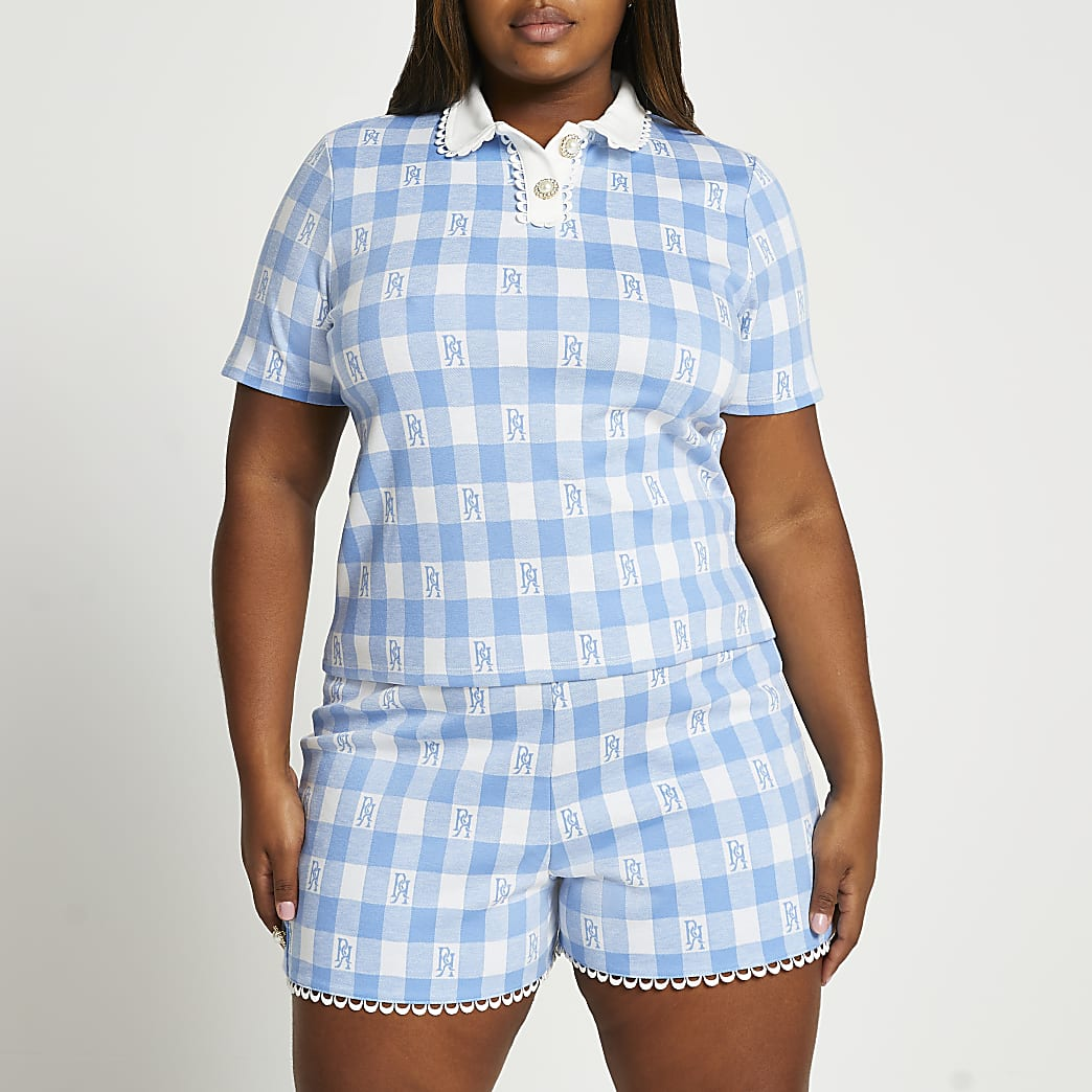 Plus blue short sleeve jacquard polo top