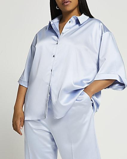 Plus blue short sleeve satin shirt