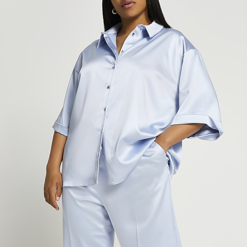 Plus blue short sleeve satin shirt