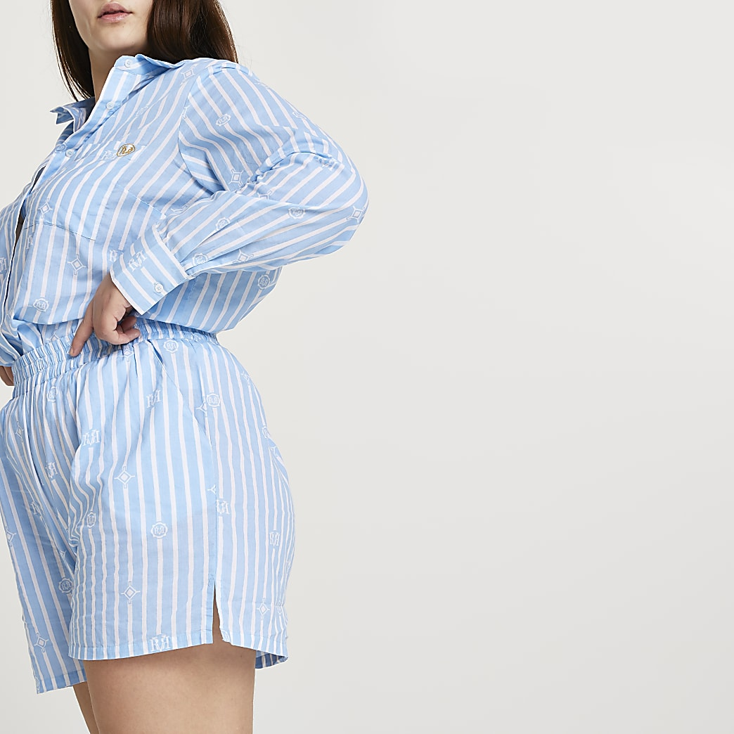 Plus Blue stripe loose fit shorts