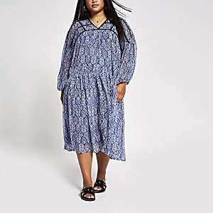 Plus blue tile print smock dress