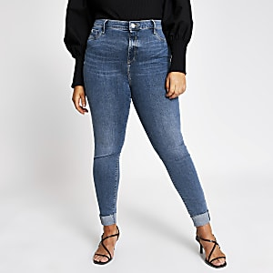 Plus blue turn-up Molly mid rise jeggings