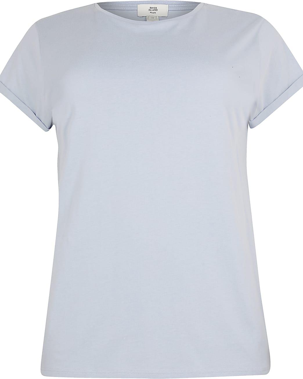 Plus blue turn up short sleeve t-shirt