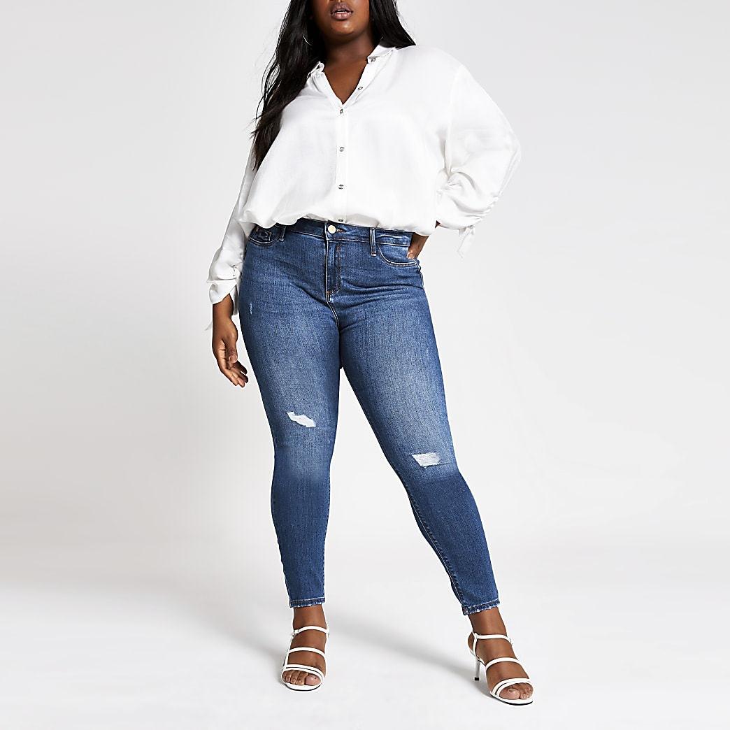Plus blue wash Molly ripped jeggings