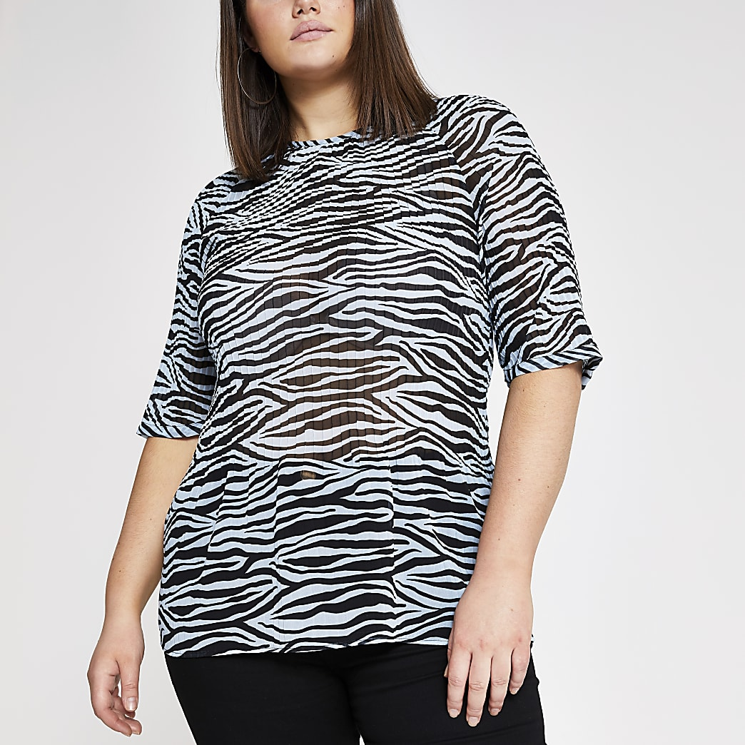 RI Plus - Blauwe plissé top met zebraprint