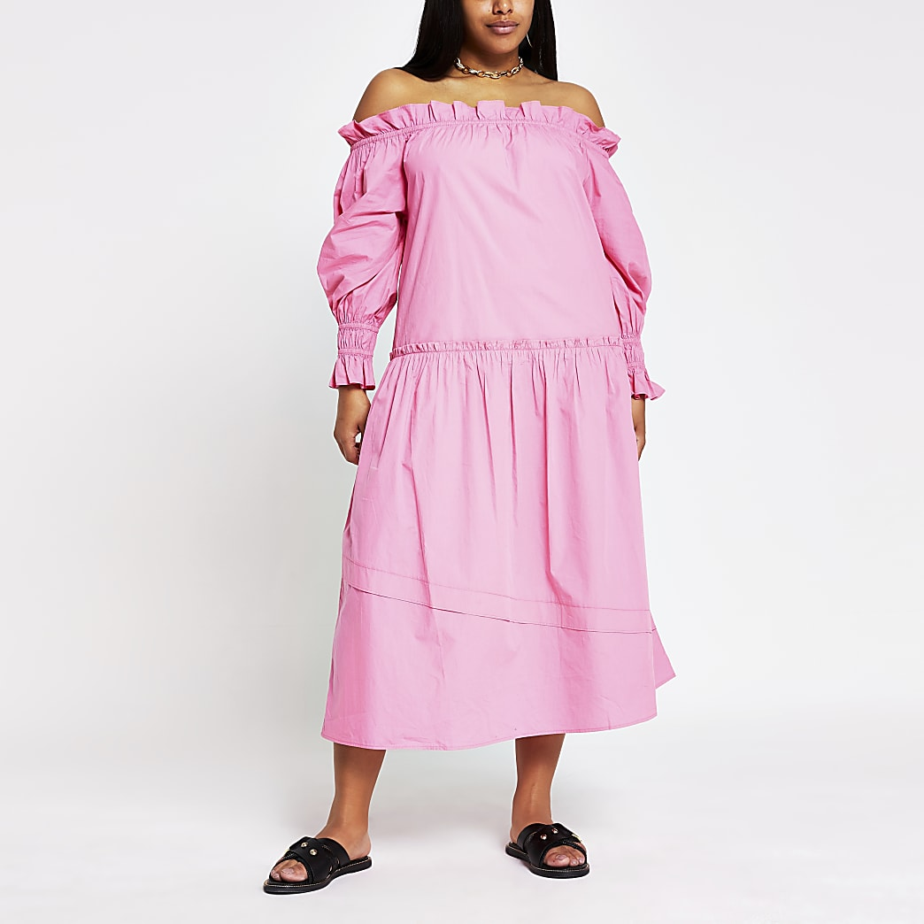Plus bright pink bardot puff dress