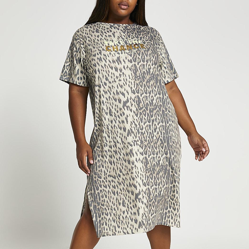Plus brown animal midi t-shirt dress