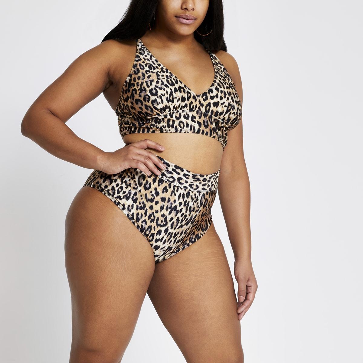Plus – Braune Bikinihose mit Leoprint