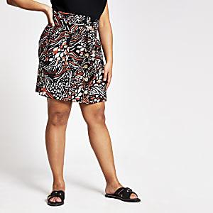 Plus– Mini-jupe boutonnéeimpriméanimal marron