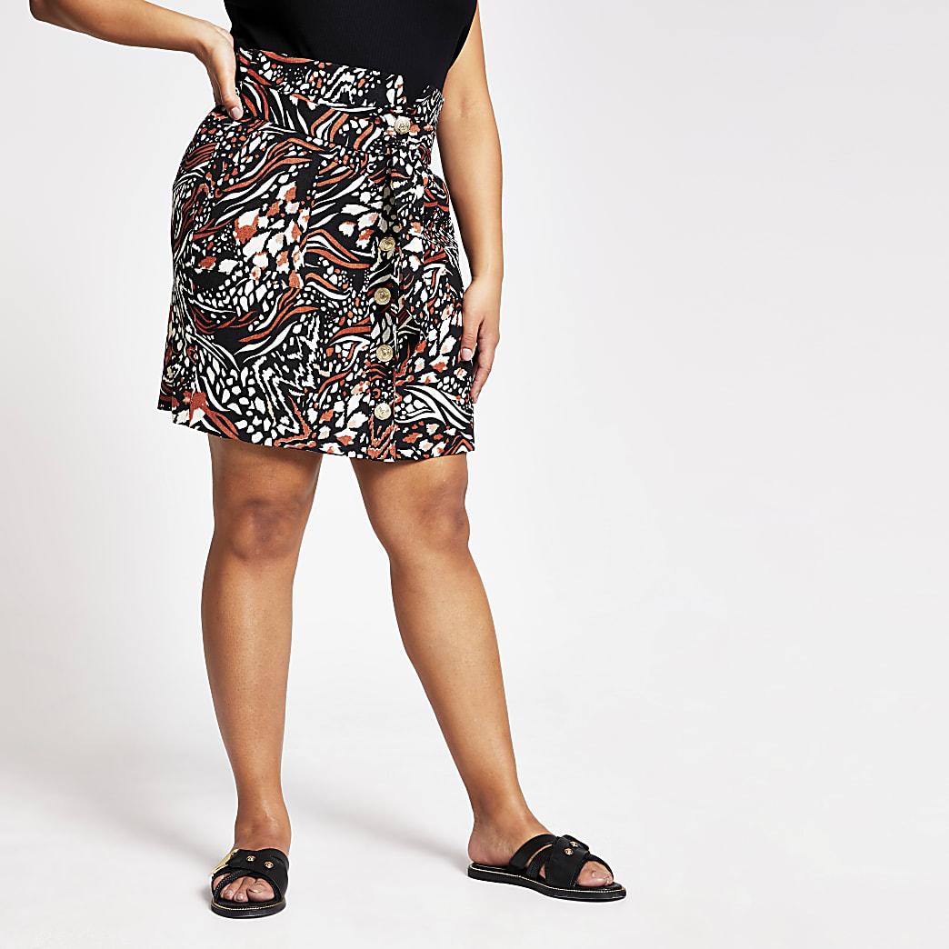Plus brown animal print button mini skirt