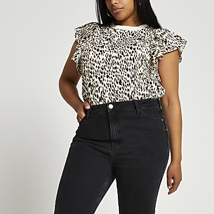 Plus brown animal print frill sleeve top