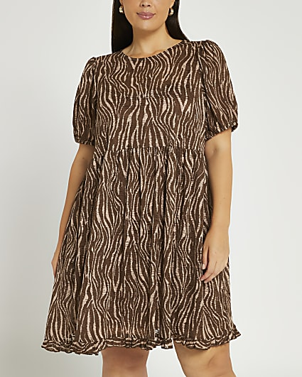 Plus brown animal print mini dress