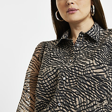 Plus brown animal print organza shirt